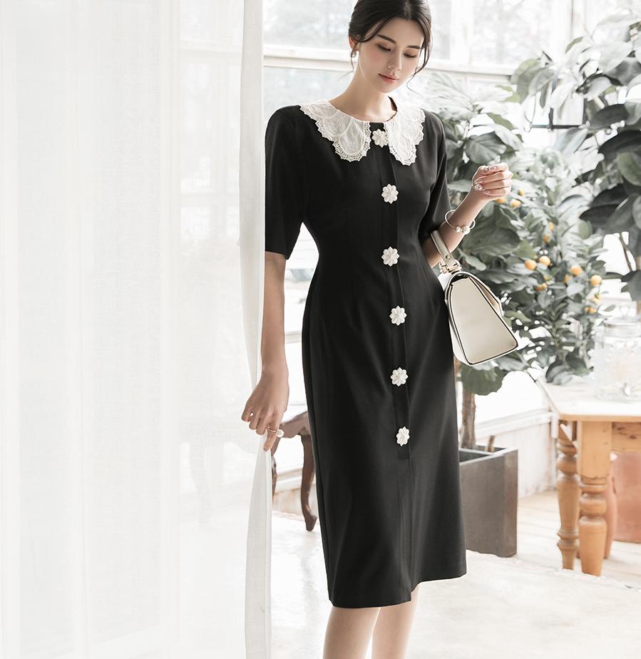 D3994 Collar Flower button Dress