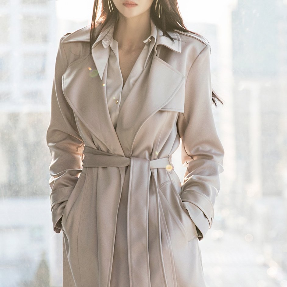 J959 Collar trench coat(Belt set)