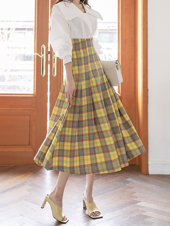 SK2048 레보 pleats Check skirt(6th REORDER)*L size production*