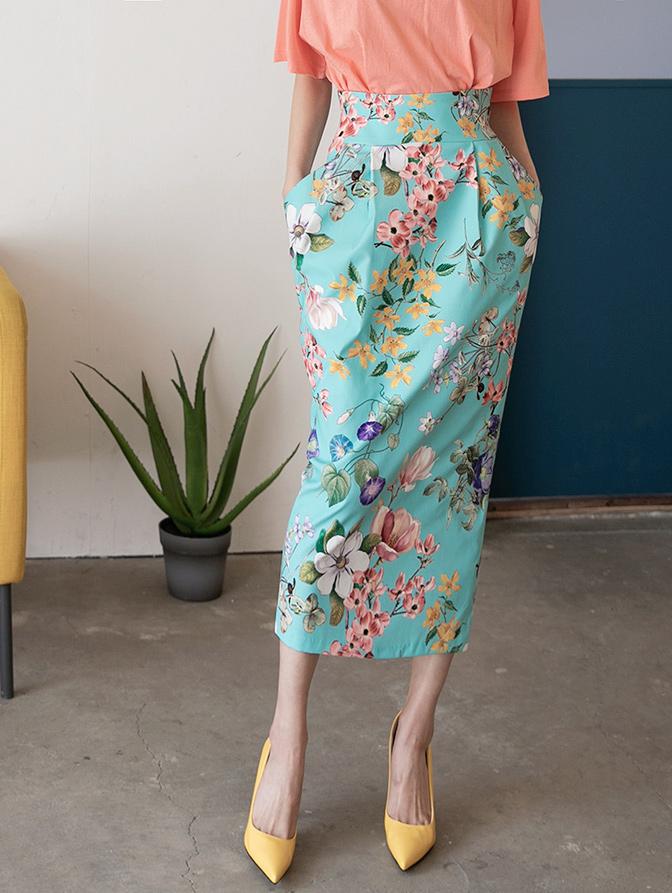 SK9076 린체 volume Flower Printing skirt(6th REORDER)