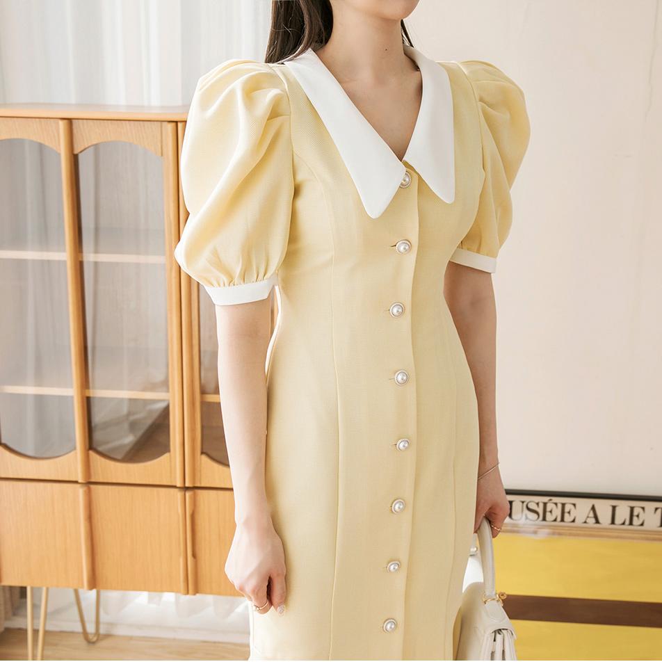 D4011 Collar Arrangement of colors Button Dress