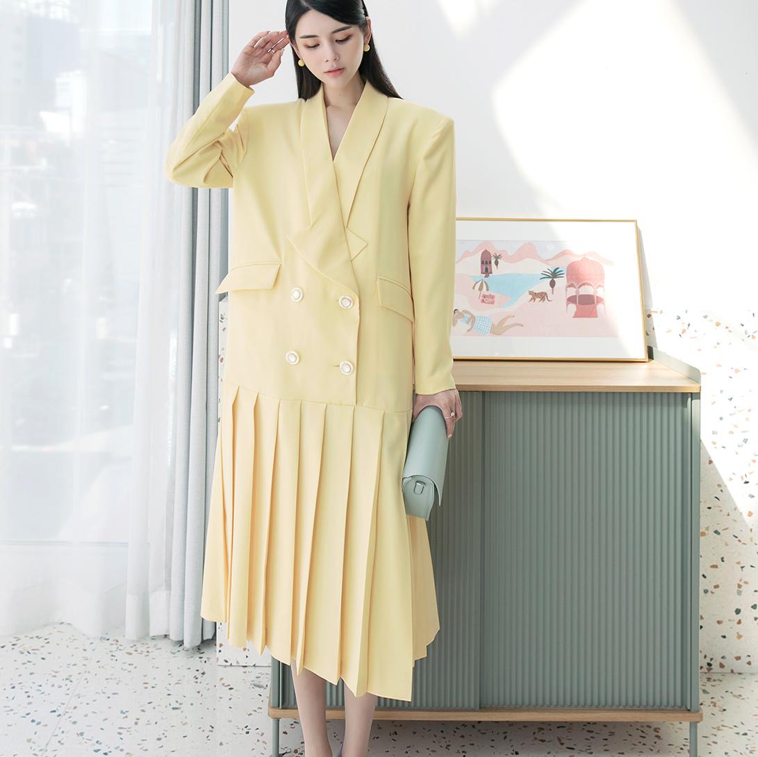 D9143 Double Button pleats Dress