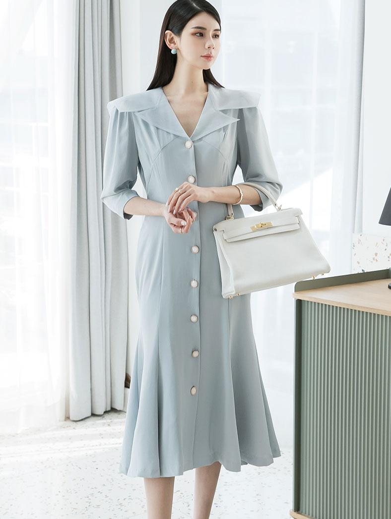 D4009 Chiffon Sailor Button Dress