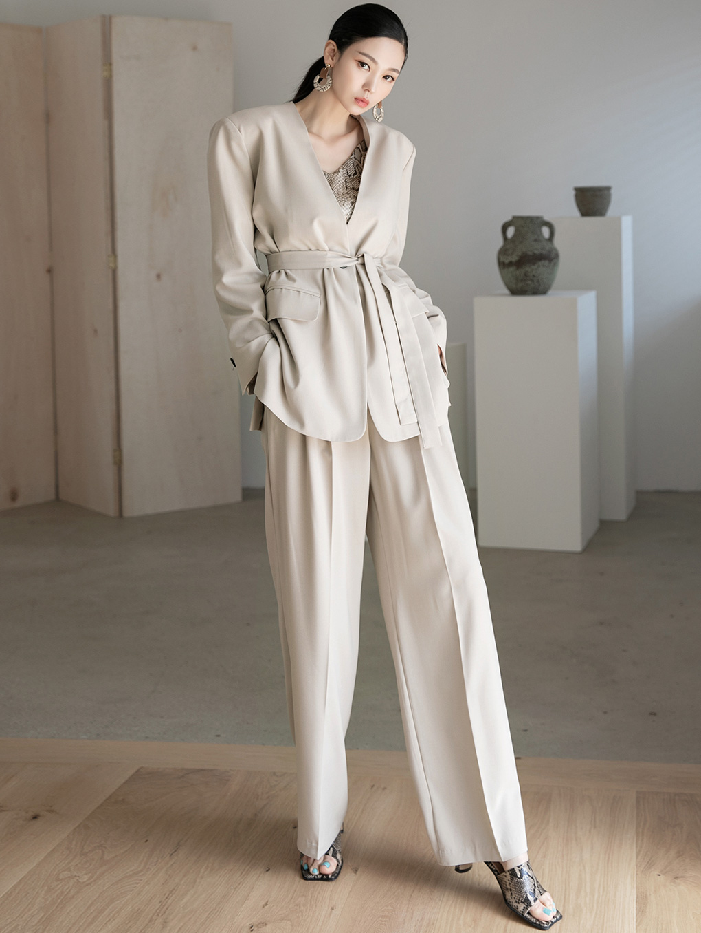 TP1077 Clean No-collar Suit(JACKET Belt set)