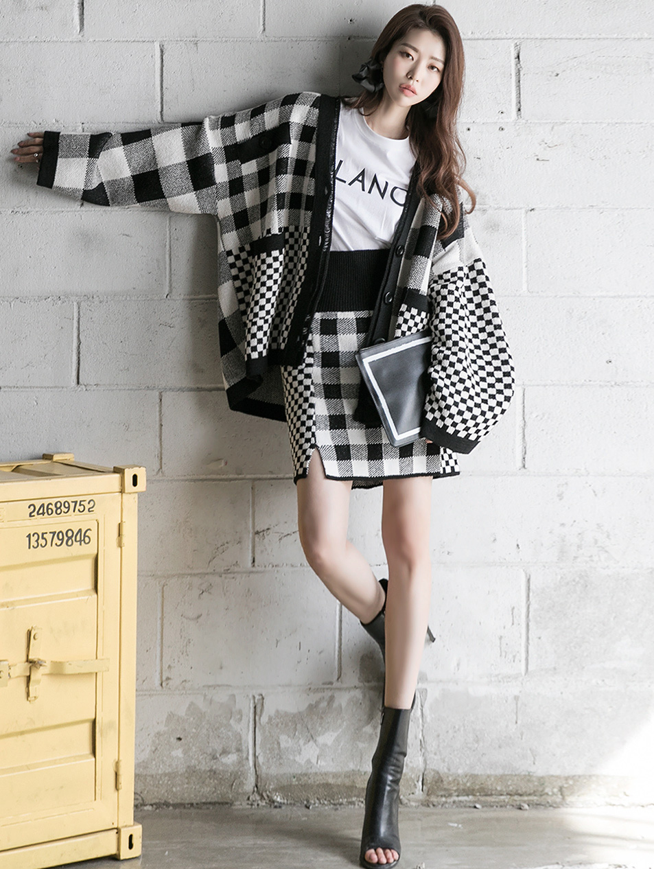 TP1082 hound tooth check mix two-piece *SKIRT can be worn on both sides*