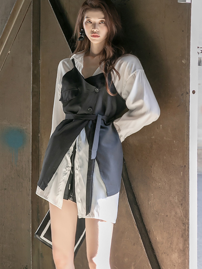 D4017 layered Slip Dress(Belt set)