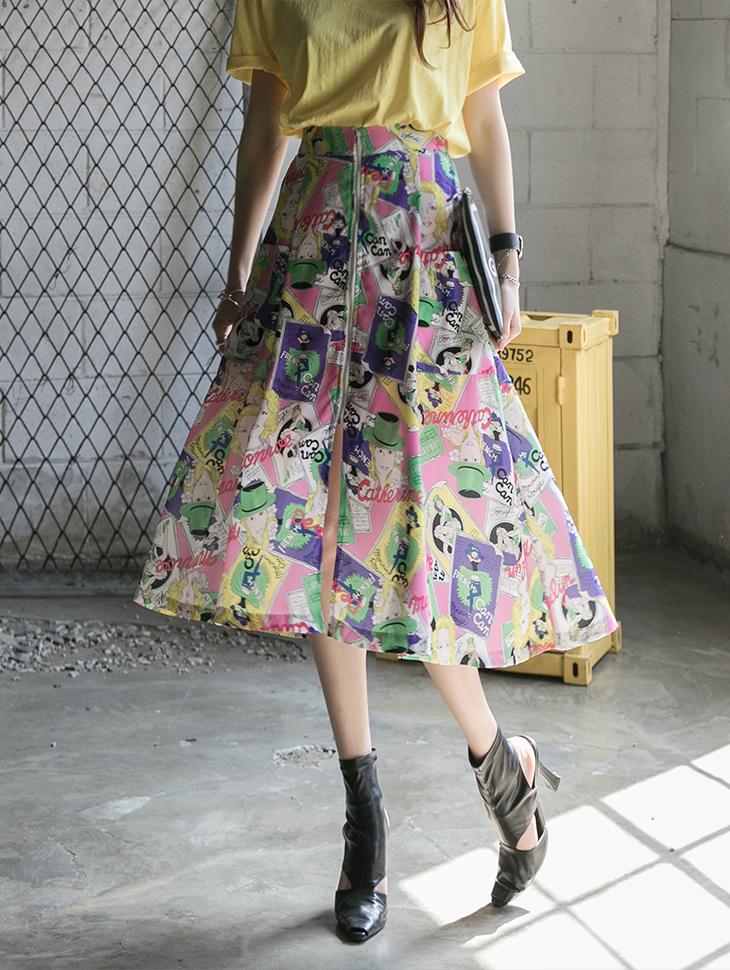 SK2051 front zipper Printing skirt