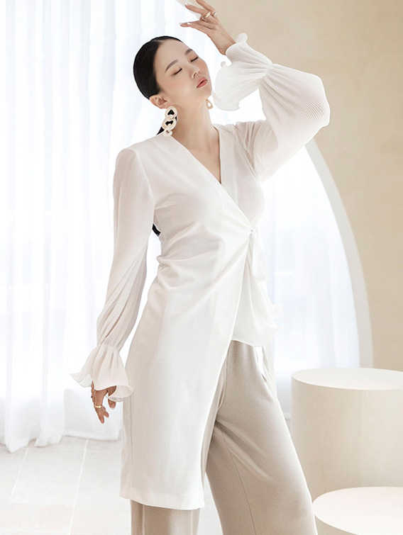 B2577 pleats Unbalance Shirring blouse