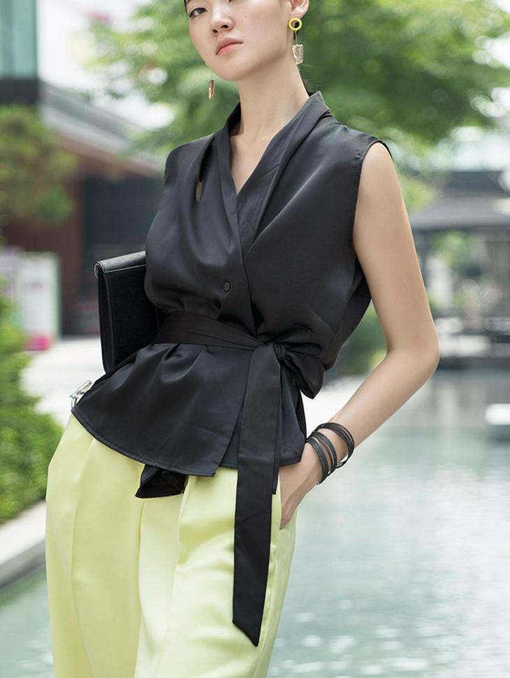 B2462 포틴 glossy warp blouse(Belt set)(54th REORDER)