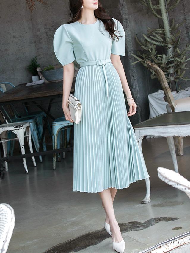 D4027 pleats Long Dress(Belt set)