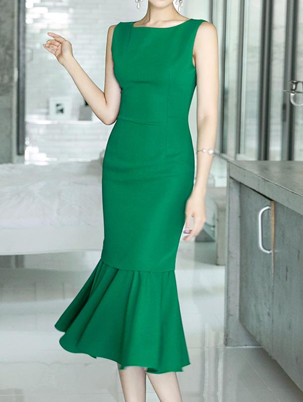 D3595 Slim ruffle  Sleeveless Dress(44th REORDER)