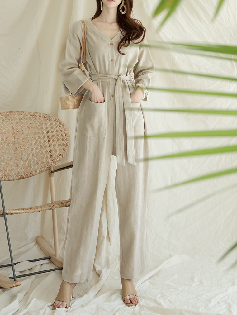 D4034 리디 Linen jumpsuit(Belt set) (1st REORDER)
