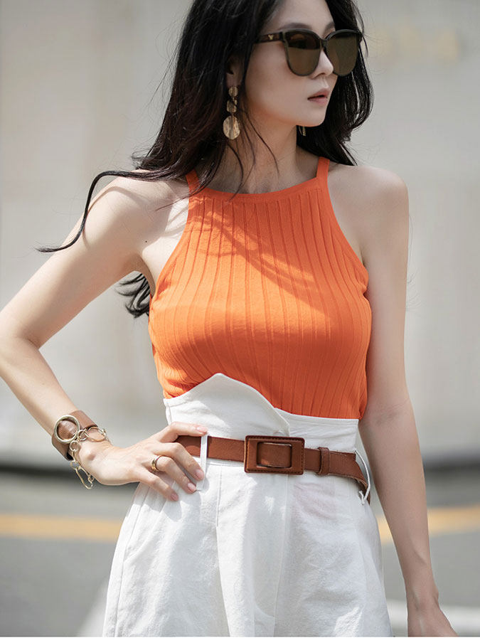 E2242 Halter neck corduroy Sleeveless Top (8th REORDER)