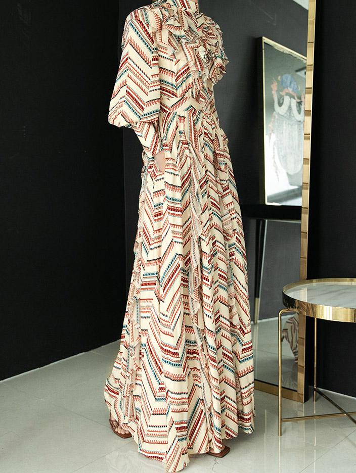 D9066 ruffle maxi dress