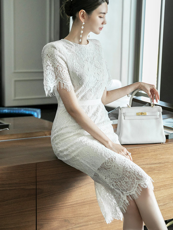 D4058 Lace Pattern Dress