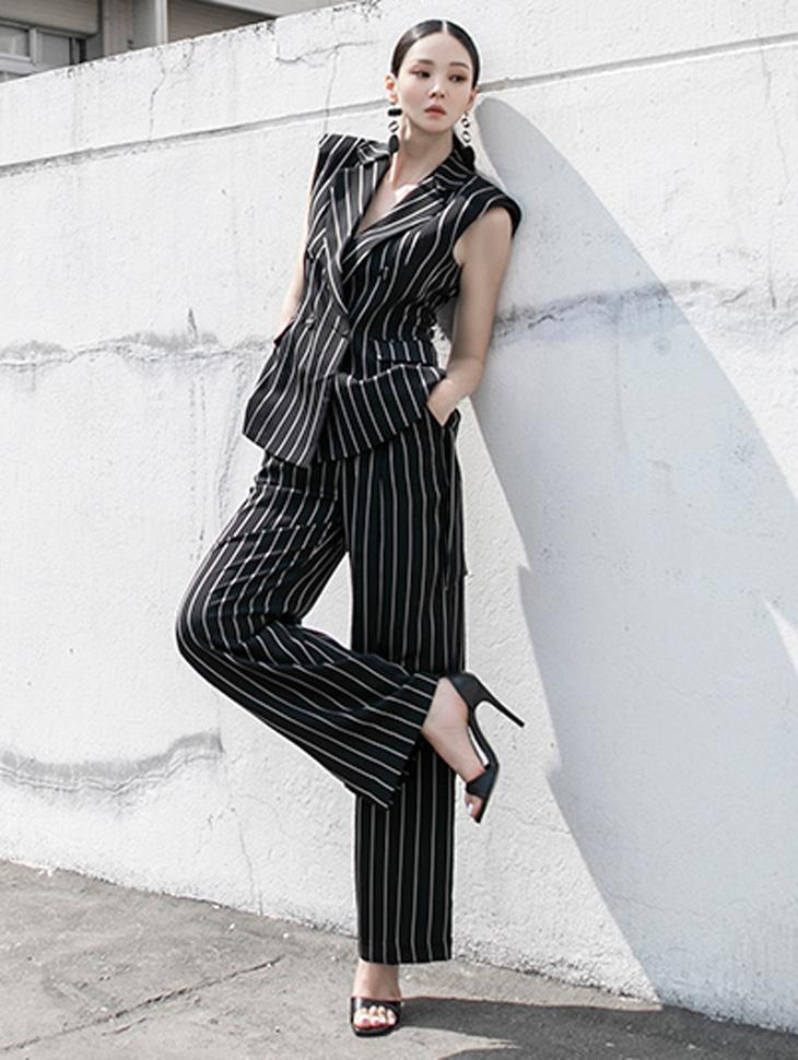 TP1096 stripe Sleeveless Suit *SET 5%*