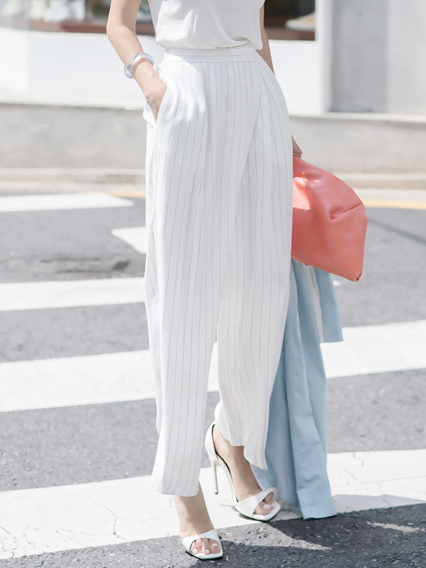 P2272 Linen stripe wide banding pants