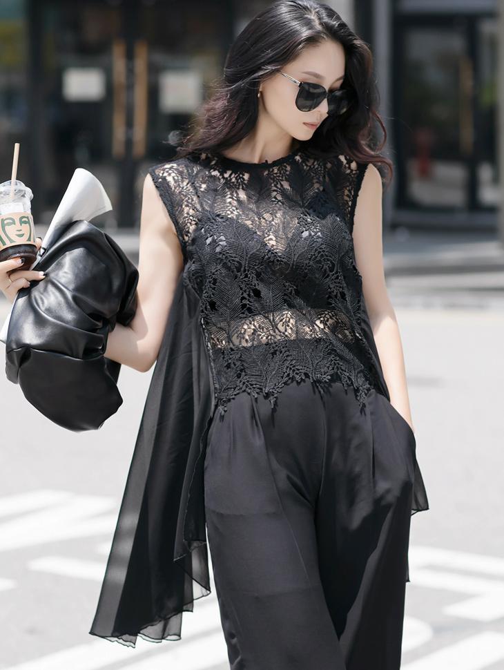 B2598 See-through Lace Unbalance blouse