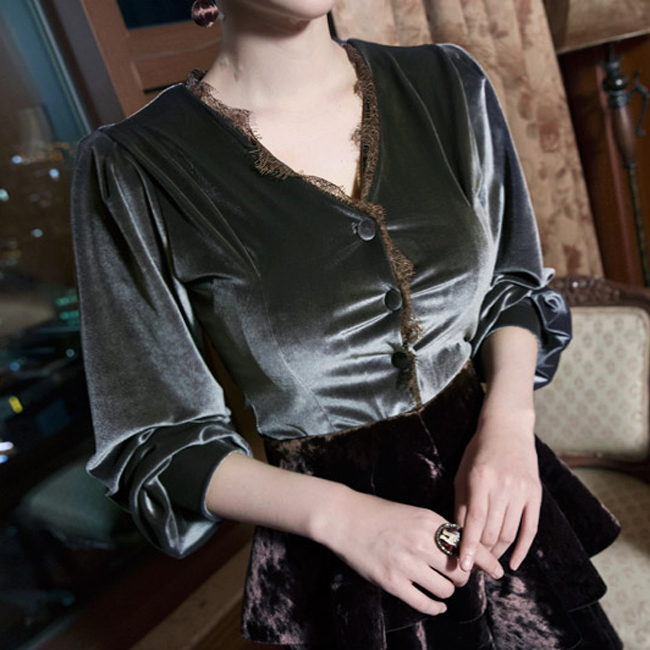 Korean B2142 avance muse velvet Blouse (44th REORDER)