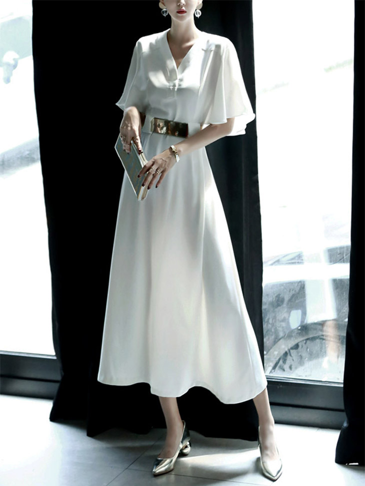 D3122 Essling V Neck Chiffon Dress (Belt set) (20th REORDER)
