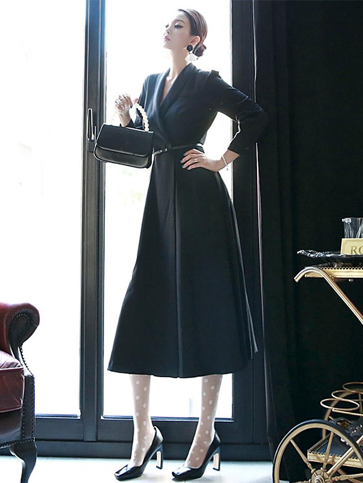 D3396 shawl Collar Dress(Belt set) *L size production*(108th REORDER)