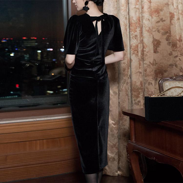 Korean D3447 Ending Velvet Dress (36th REORDER)