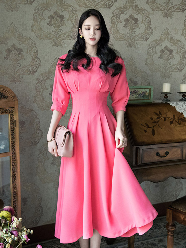D3493 스핀 보우트 Slim flare Dress(87th REORDER)