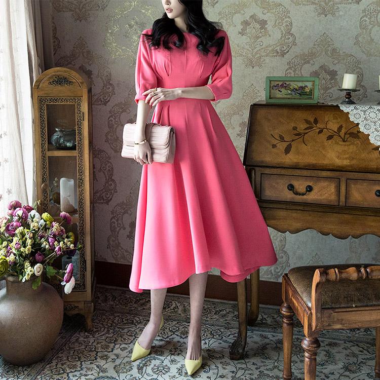 Korean D3493 스핀 보우트 Slim flare Dress(87th REORDER)