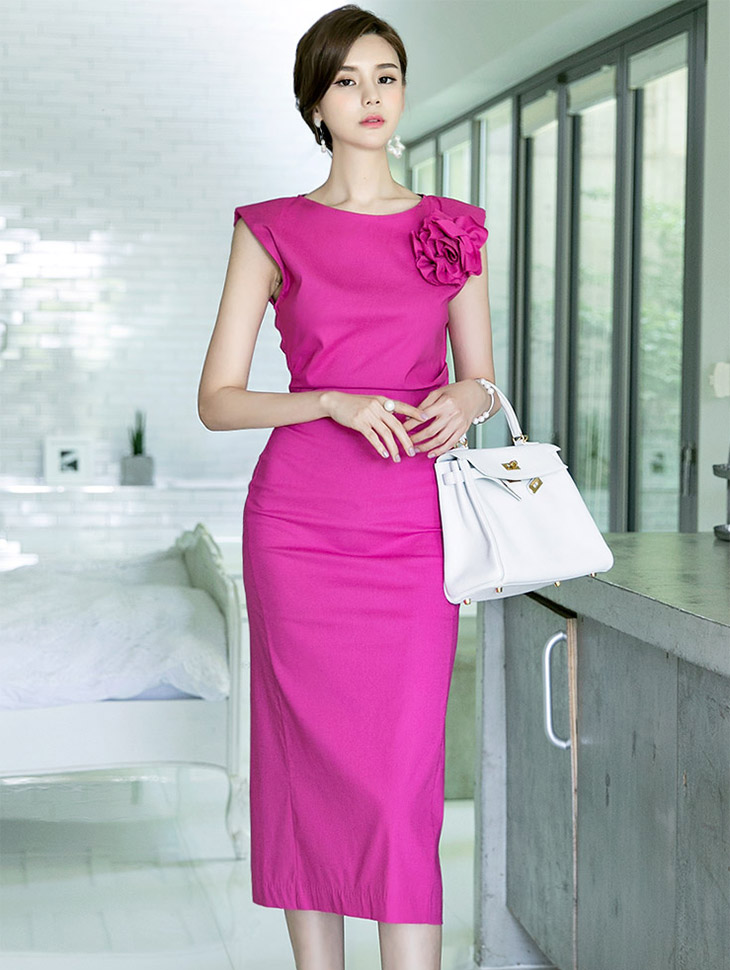 D3600 Flower Shirring draping Dress(broochSET)(17th REORDER)