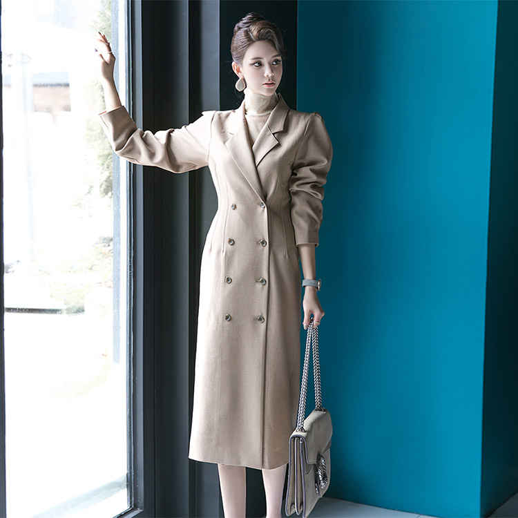 Korean D3661 volume Puff Line Double Dress*Can be worn as a Outer*BLACK Lsize Production*(24th REORDER)