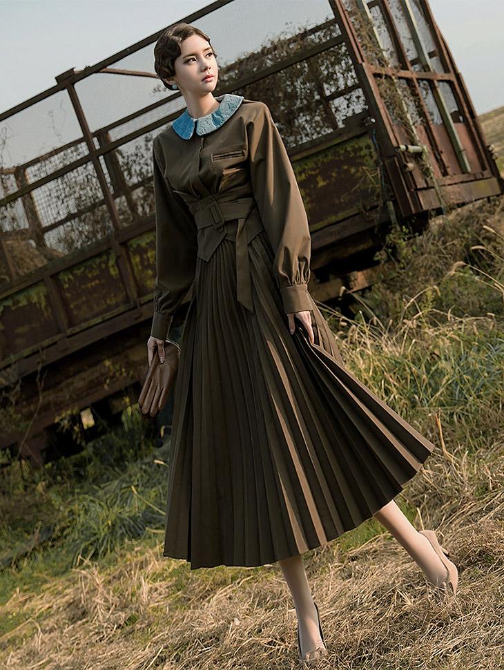 D3684 Lace point pleats Dress (Belt set) (20th REORDER)