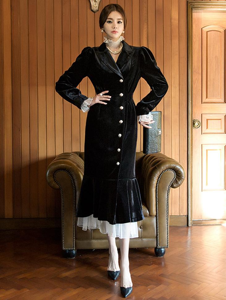 D3711 Audrey pearl button Velvet Dress