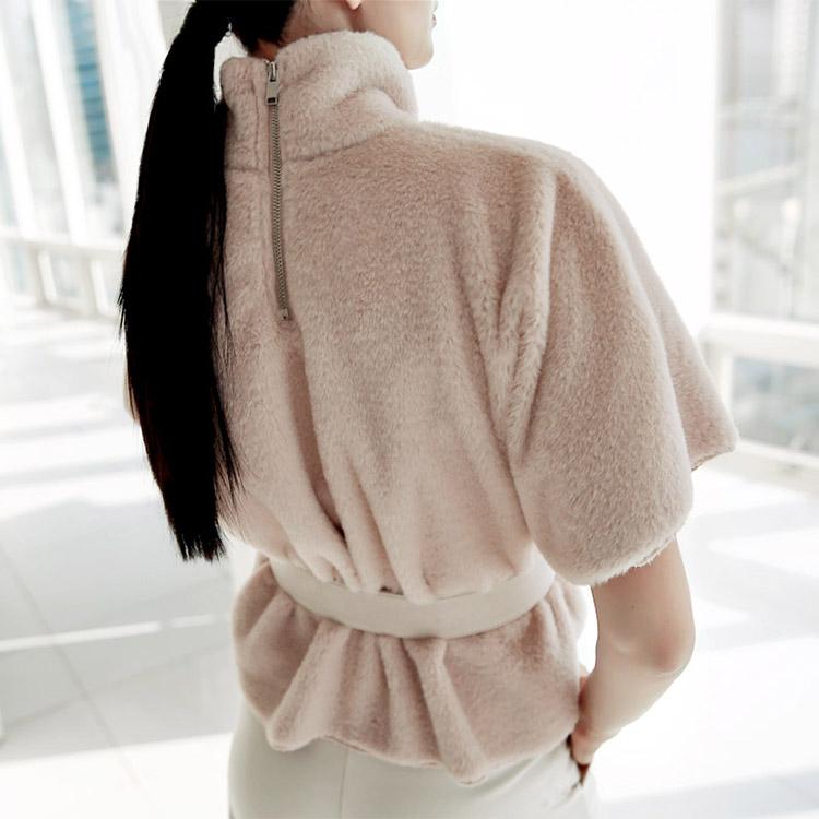 Korean E1557 Ravia Fur Trimming T-shirt (Belt set) (26th REORDER)
