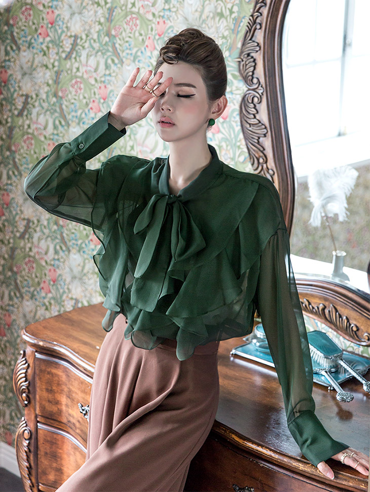 B2301 미드나잇 See-through Frill blouse(40th REORDER)