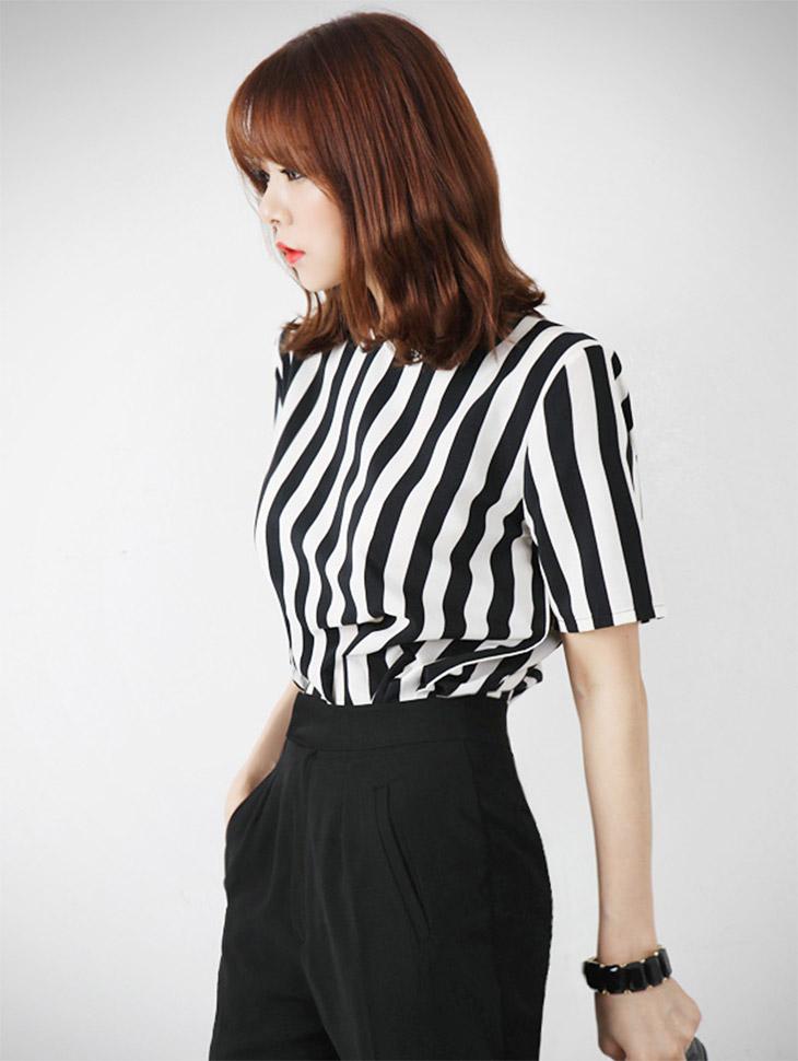 B867 버티컬 stripe zipper blouse(37th REORDER)