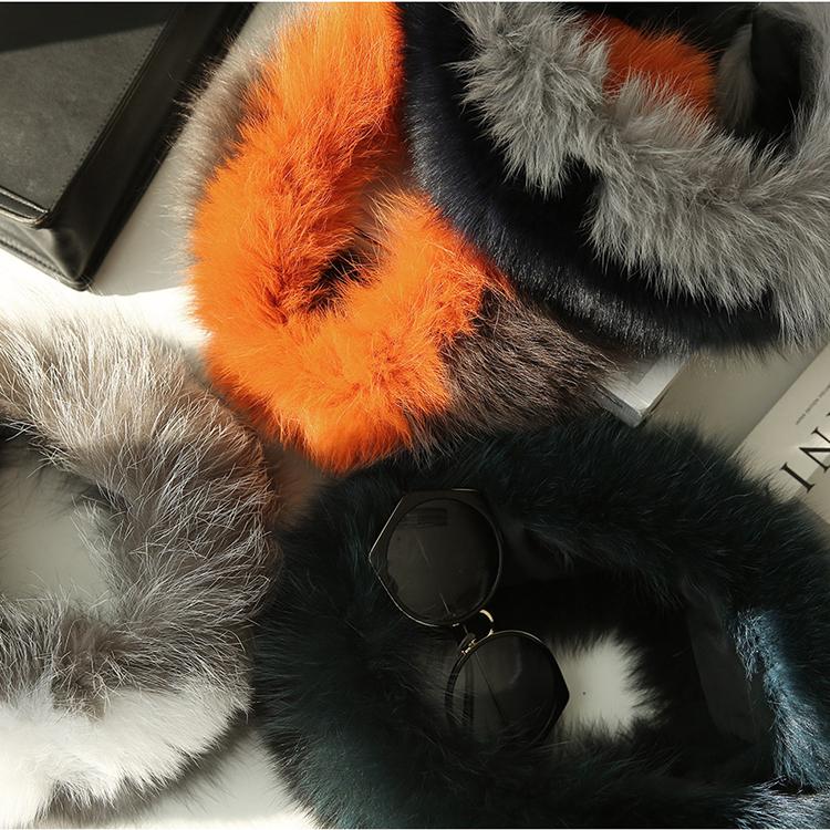 Korean AS-1339 two tone Color Fox Fur muffler
