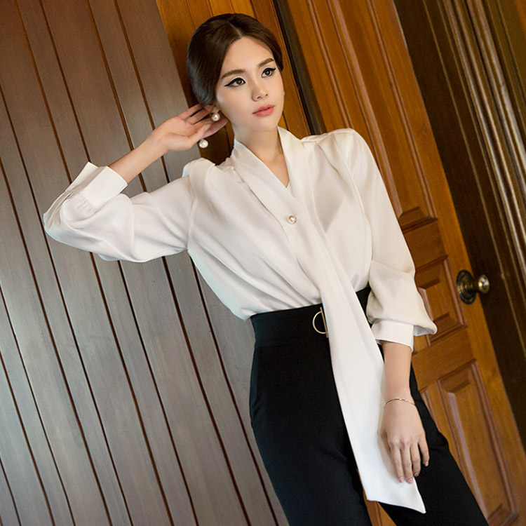Korean B2350 pearl Scarf blouse(brooch set)(90th REORDER)