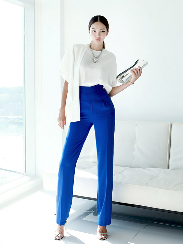 P807 High Waist pin tuck wide Slacks * large size production * (112th REORDER)