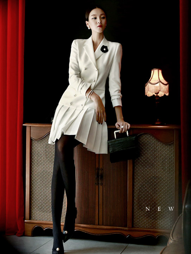 J420 pearl Trimming pleats Jacket * Can be worn as a dress * (78th REORDER)