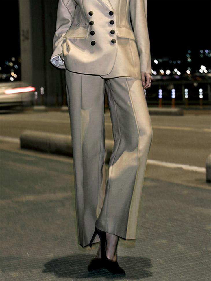 P1920 Classic Modern Line pin tuck wide Silk Pants