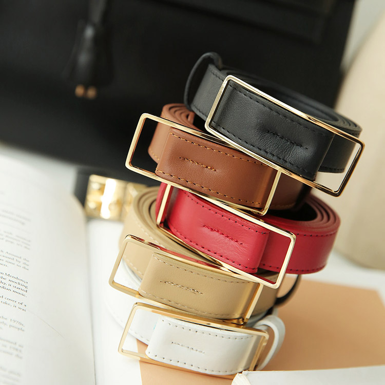 Korean AT-310 Gold Square Leather Belt (3reorder)