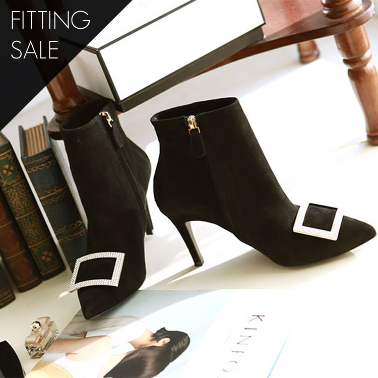 Korean PS1519 Square cubic ankle boots heel * HAND MADE ** Fitting sale *