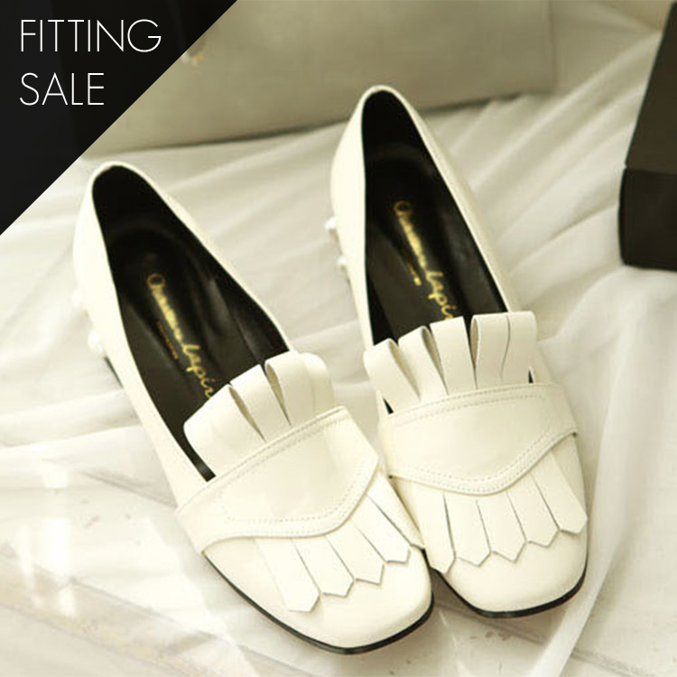 Korean PS1524 Pearl Trimming Fringe Loafers * HAND MADE ** Fitting Sale *