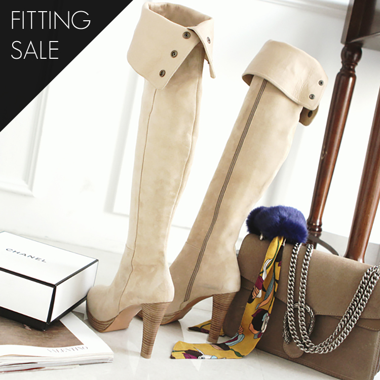 Korean PS1529 Snap Button Long Boots Heel * HAND MADE ** Fitting Sale *