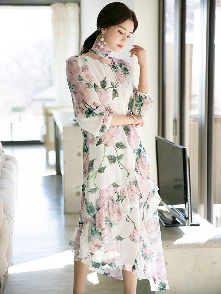 D3759 Rose Unbalance Chiffon Dress(ScarfSET)(12th REORDER)