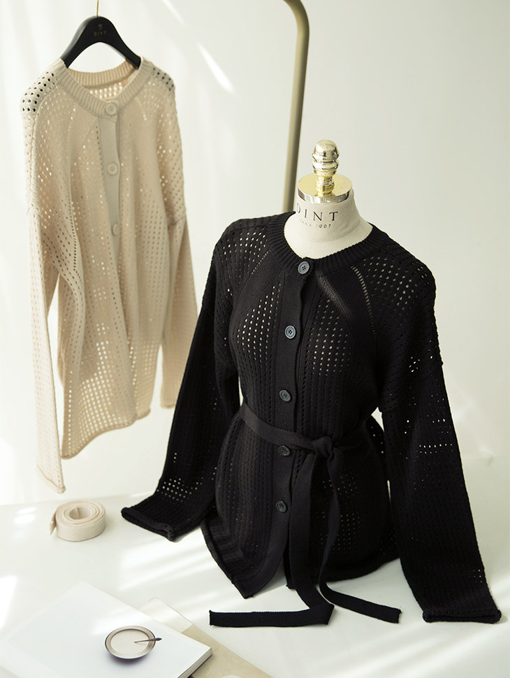 J624 Milano opening Knit Cardigan (belt set) (front and back can be worn)