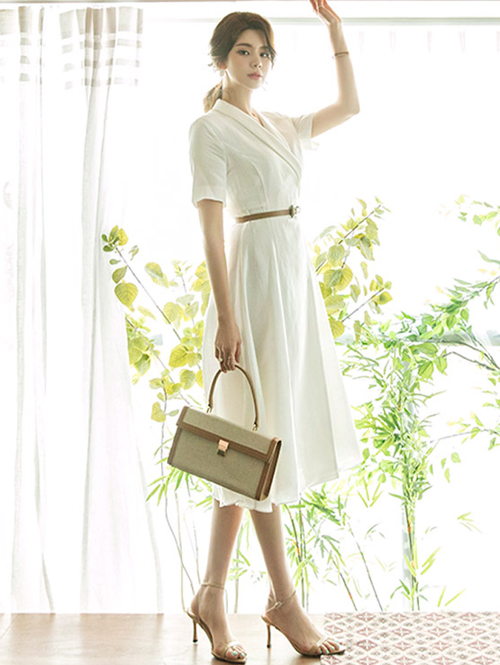 D3783 Linen Dress(Belt set)(18th REORDER)