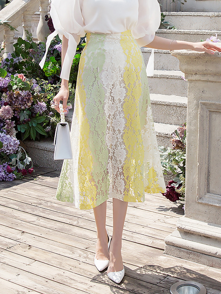 SK1882 Mabel mix Color Lace Skirt