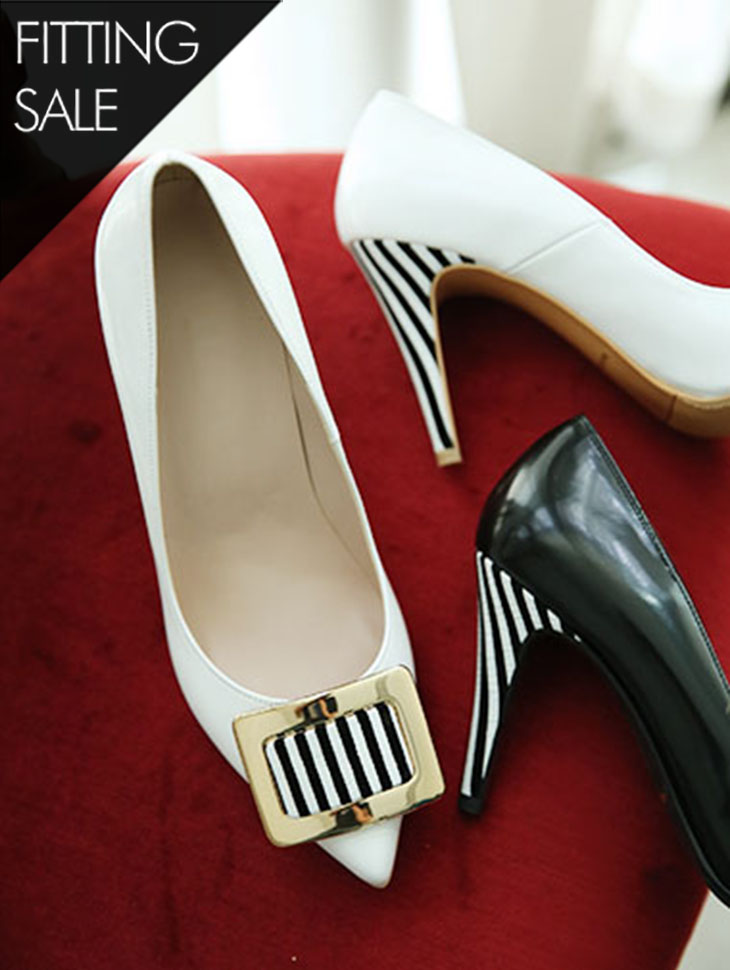 PS1564 points Stripe heel * HAND MADE * Fitting sale *