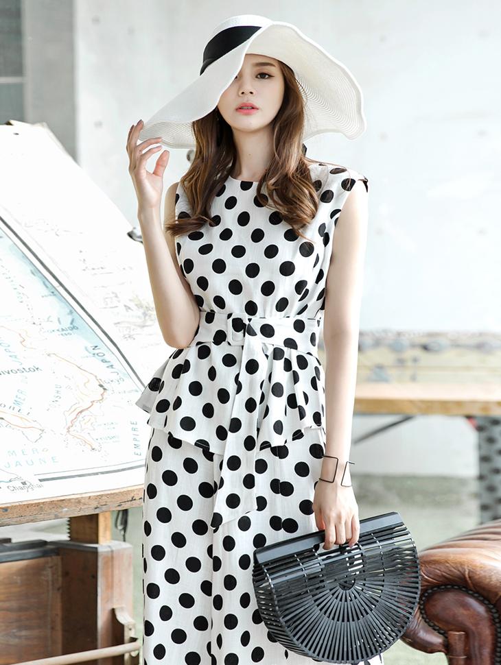 B2236 Linen dot blouse(Belt set)(18th REORDER)